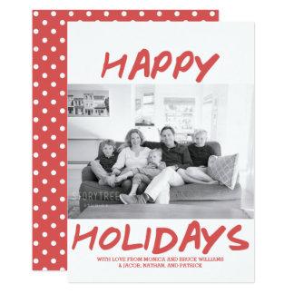 Trendy glückliches Rot der Feiertags-Foto-Karten-| Karte
