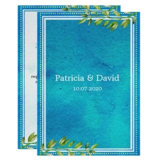 Trendy Grün verlässt blaue Watercolor-Hochzeit 12,7 X 17,8 Cm Einladungskarte