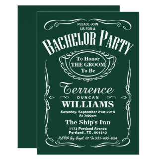 Trendy grünes Typografie-Junggeselle-Party 12,7 X 17,8 Cm Einladungskarte