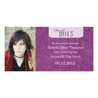 Trendy Grunge-lila Abschluss-Mitteilung Photokarten