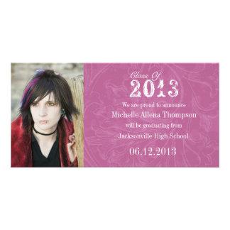 Trendy Grunge-Rosa-Abschluss-Mitteilung Foto Grußkarte