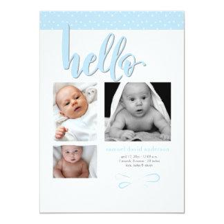 Trendy hallo-Foto-Geburts-Mitteilung Karte