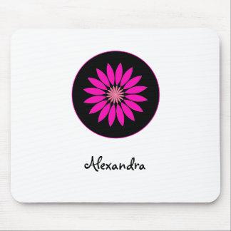 Trendy heißes Rosa-und Schwarz-Gänseblümchen-Blume Mousepad