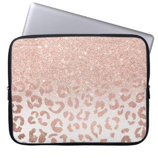 Trendy Imitat-RosengoldGlitter ombre Leopard Laptop Sleeve