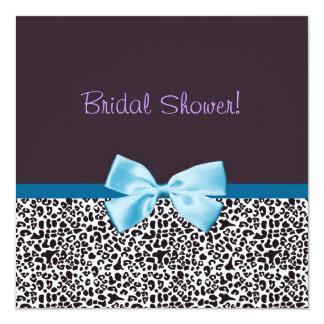 Trendy Leopard-Druck und blaues Band-Brautparty Quadratische 13,3 Cm Einladungskarte