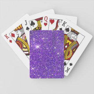 Trendy lila funkelnder GlitterGlitz Spielkarten