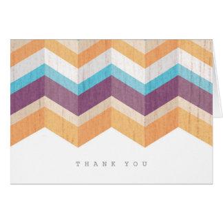 Trendy lila orange u. blaues Zickzack danken Ihnen Mitteilungskarte
