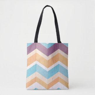 Trendy lila orange u. blaues Zickzack Muster Tasche