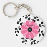Trendy mit Monogramm rosa und schwarze Blume mit N Schlüsselbänder