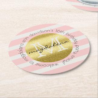Trendy Monogramm-GoldGlitter erröten rosa Streifen Kartonuntersetzer Rund