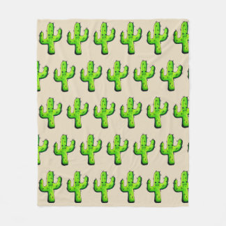 Trendy niedlicher Watercolor-Cartoon-Kaktus Fleecedecke