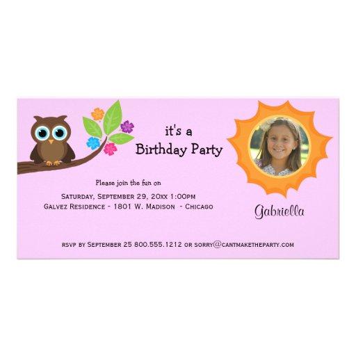Trendy Party-Eulen-Foto laden rosa Hintergrund ein Photo Grußkarte