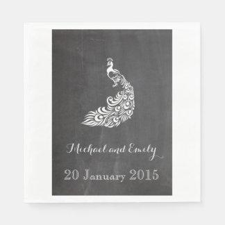 Trendy romantische Vintage Pfautafelhochzeit Papierservietten