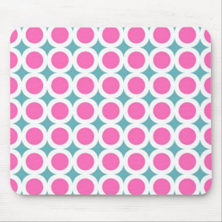 Trendy rosa Kreise und aquamarines blaues Muster Mousepads