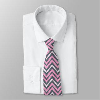 Trendy Rosa-und Schiefer-Grau-Zickzack Muster Individuelle Krawatten