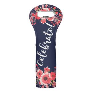 Trendy rosa Watercolor-Blumen feiern! Skript Weintasche