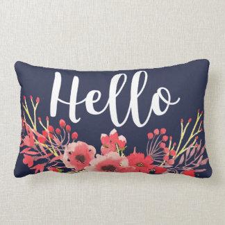 Trendy rosa Watercolor-Blumen-hallo Skript Lendenkissen
