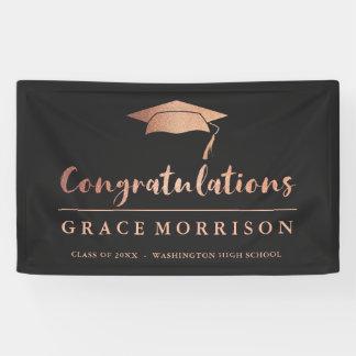 Trendy Rosen-Goldschwarz-Glückwunsch-Abschluss Banner