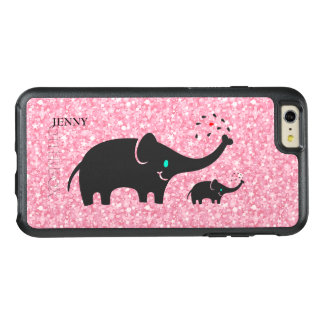 Trendy schwarze Elefanten über rosa Glitter OtterBox iPhone 6/6s Plus Hülle