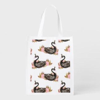 Trendy schwarzer Schwan mit rosa Blumen-Muster Wiederverwendbare Einkaufstasche