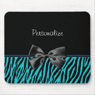 Trendy schwarzer und aquamariner Zebra-Druck mit B Mauspads