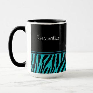 Trendy schwarzer und aquamariner Zebra-Druck mit Tasse