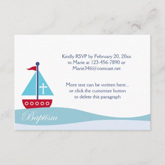 Trendy Segelboot Taufe Uawg Einschließungs Karten Rsvp Karte