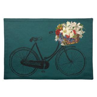 Trendy Tischsetgrünelfenbeinfahrrad-Blumenfahrrad Tischset