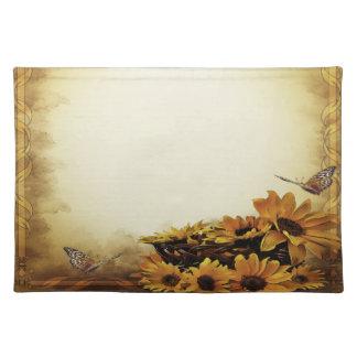 Trendy Tischsetschmetterlings-Sonnenblumeherbst Tischset
