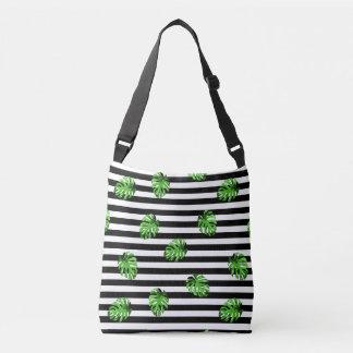 Trendy tropisches Blätter-Schwarz-weißes Tragetaschen Mit Langen Trägern