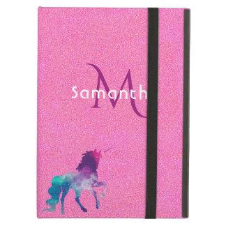 Trendy Unicorn in Lila auf rosa Glittermonogramm