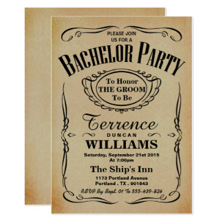 Trendy Vintages Typografie-Junggeselle-Party 12,7 X 17,8 Cm Einladungskarte