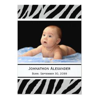 Trendy Zebra-Druck-Foto-Geburts-Mitteilung 12,7 X 17,8 Cm Einladungskarte