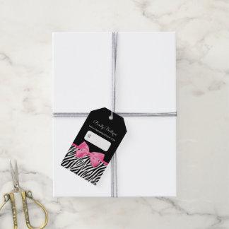 Trendy Zebra-Druck mit Chic-Rosa-Bogen-Butike Geschenkanhänger
