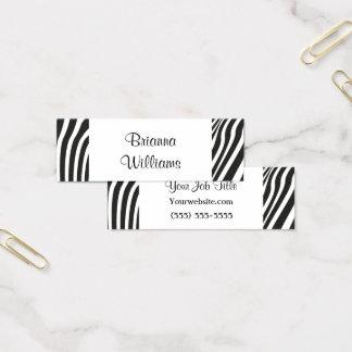 Trendy Zebra-Druck-Schwarz-weißes einfaches Mini Visitenkarte