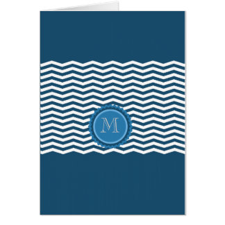 Trendy Zickzack blaues Monogramm Karte
