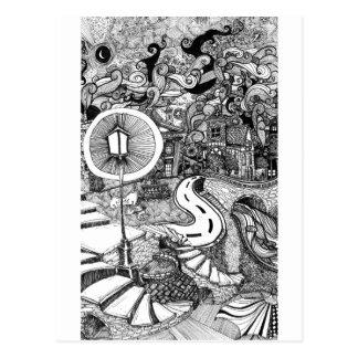 Treppe unter Lamplightfederillustration Postkarte