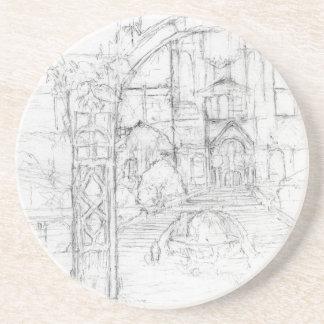 Treppenhaus-Ansicht Sandstein Untersetzer