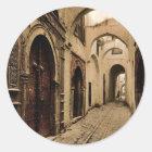 Tresure Straße, Klassiker Photochrom Tunis, Runder Aufkleber