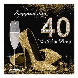 Treten in ein 40 Geburtstags-Party Karte