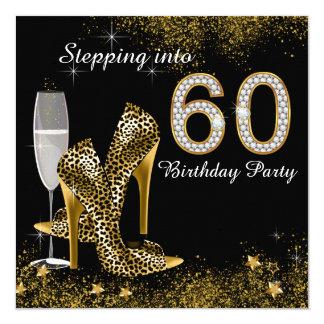 Treten in ein 60 Geburtstags-Party Quadratische 13,3 Cm Einladungskarte