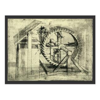 Tretmühle angetriebener Crossbow durch Leonardo da Postkarte