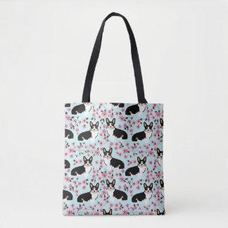 Tri Corgi-Kirschblüte - Blau Tasche