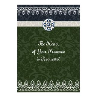 Tri Farbebrokat-Hochzeits-Einladung 12,7 X 17,8 Cm Einladungskarte