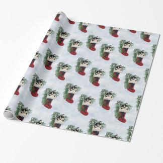 Tri FarbeCorgi im Strumpf-Verpackungs-Papier Geschenkpapier