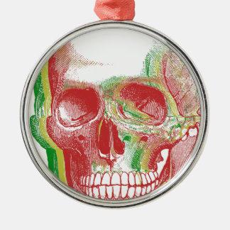 Tri FarbeRasta Schädel Silbernes Ornament