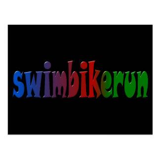 TRI Triathlon-Schwimmen-Fahrrad-Lauf-REGENBOGEN Postkarte
