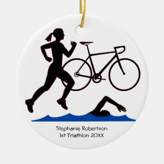 Triathlon-Frau-Andenken Keramik Ornament