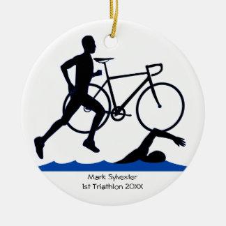 Triathlon-Mannesandenken Keramik Ornament