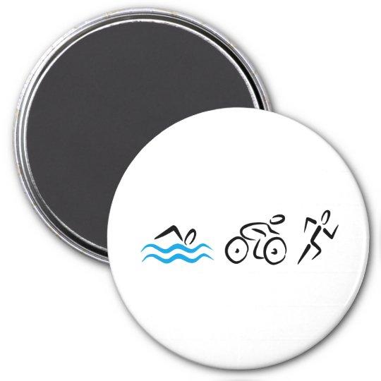 Triathlon Runder Magnet 7,6 Cm